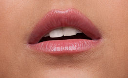 Beauty woman lips desire close-up Stock Photos