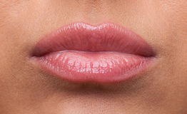 Beauty woman lips offended sulk close-up Stock Images