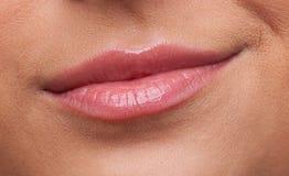 Beauty woman lips smile contempt close-up stock photos
