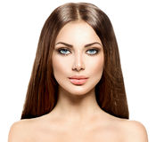 Beauty woman with long healthy brown hair Stock Photo