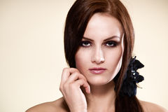 Beauty woman with long straight brown hair Royalty Free Stock Image