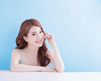 Beauty woman look you happily Stock Photos