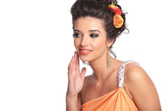 Beauty woman looking to her side Royalty Free Stock Photo