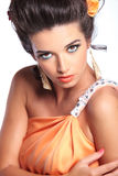 Beauty woman looks at you Stock Images
