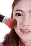 Beauty woman with Makeup Brush Stock Images