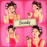Beauty woman makeup concept collage series on pink Stock Photos