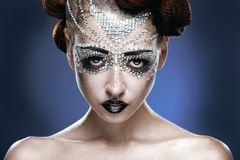 Beauty woman makeup with crystals on face Royalty Free Stock Photo