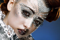 Beauty woman makeup with crystals on face Royalty Free Stock Photography