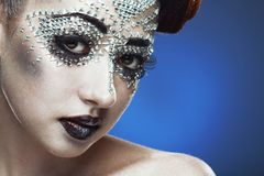 Beauty woman makeup with crystals on face Royalty Free Stock Images