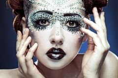 Beauty woman makeup with crystals on face Royalty Free Stock Photos