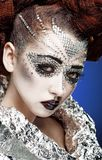 Beauty woman makeup with crystals on face Stock Image