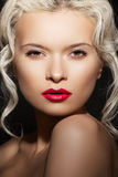 Beauty woman model with fashion make-up, hairstyle Stock Photography