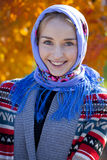 Beauty woman in the national patterned scarf Stock Photography