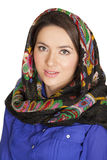 Beauty woman in the national patterned shawl Royalty Free Stock Images