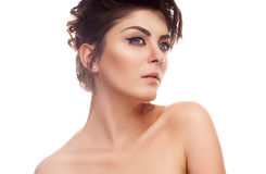 Beauty woman with natural make up. On white background. Glamour makeup Royalty Free Stock Photography