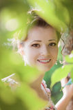 Beauty woman in nature Stock Photos