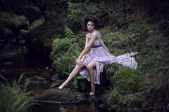 Beauty woman in nature scenery Stock Images