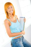 Beauty woman with notepad Royalty Free Stock Photo