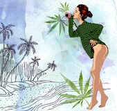 Beauty woman on ocean palm trees beach, hand drawn. Watercolor paper background. Vector image. Beauty woman on ocean palm trees beach, hand drawn. Watercolor Stock Photos