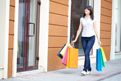 Beauty woman om shopping Royalty Free Stock Photo