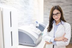 Beauty woman optometrist. Smile happily and look you royalty free stock photo