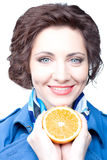 Beauty  woman with orange half Stock Photos