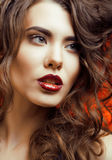 Beauty Woman with Perfect Makeup Beautiful Royalty Free Stock Photography