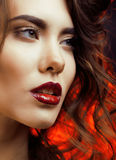 Beauty Woman with Perfect Makeup close up Stock Images