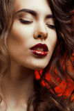 Beauty Woman with Perfect Makeup close up Stock Photography