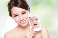 Beauty woman with perfect skin like baby Royalty Free Stock Images
