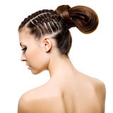 Beauty woman with  pigtails Stock Photo