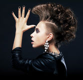 Beauty woman pigtails, hairstyle, saluting Stock Photos