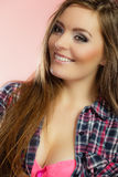 Beauty woman in pink bra and shirt Stock Photos