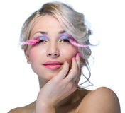 Beauty woman with pink eyelashes Royalty Free Stock Images