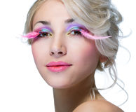 Beauty woman with pink eyelashes Stock Photos