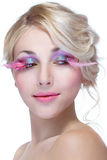 Beauty woman with pink eyelashes Stock Images