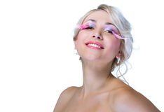 Beauty woman with pink eyelashes Royalty Free Stock Photography