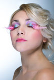 Beauty woman with pink eyelashes Stock Image