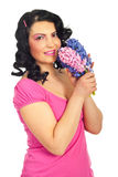 Beauty woman in pink with fresh hyacinth Royalty Free Stock Photography