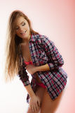 Beauty woman in pink lingerie and shirt Royalty Free Stock Images