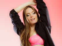Beauty woman in pink lingerie and shirt Stock Images