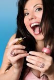 Beauty - woman with pink nailpolish Stock Image