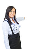 Beauty woman pointing in background Royalty Free Stock Photos