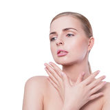 Beauty woman portrait. Beautiful spa model girl with perfect Fresh Clean Skin and natural professional makeup. Blonde Royalty Free Stock Photography