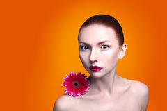 Beauty woman portrait bright backround holding. Gerbera flower Royalty Free Stock Images