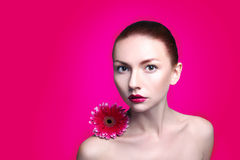 Beauty woman portrait bright backround holding Royalty Free Stock Images