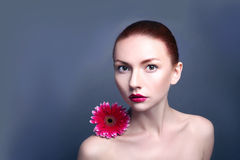 Beauty woman portrait bright backround holding. Gerbera flower Stock Images