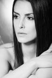 Beauty woman portrait bw Stock Photos