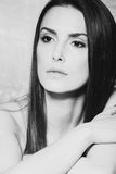 Beauty woman portrait bw Stock Photography