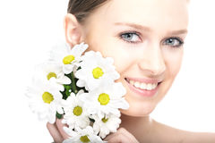 Beauty woman portrait with camomile flower Royalty Free Stock Photo